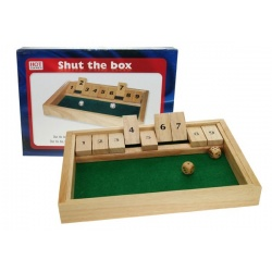 Shut the box dobbelspel klein 28x20x3cm.