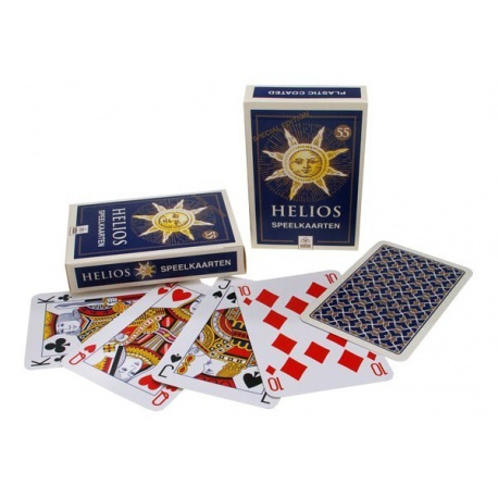 Doos met 100 pakjes Helios Speelkaarten.