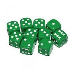 Dobbelstenen set groen/wit 16 mm