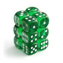 Dobbelstenen set doorzichtig groen/wit 16 mm