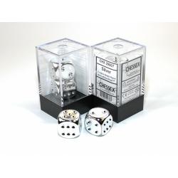Zilver metallic dobbelstenen, set 2 stuks
